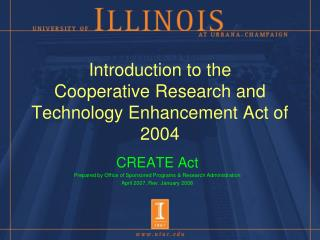 Introduction to the  Cooperative Research and Technology Enhancement Act of 2004
