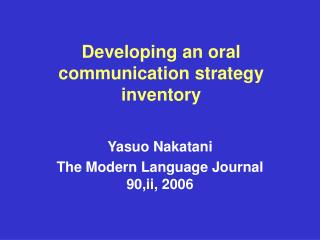 Developing an oral communication strategy inventory
