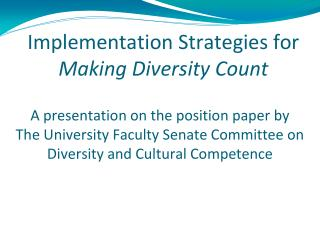 Implementation Strategies for  Making Diversity Count