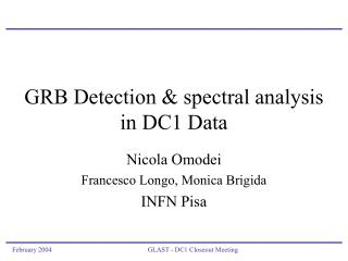 GRB Detection & spectral analysis  in DC1 Data
