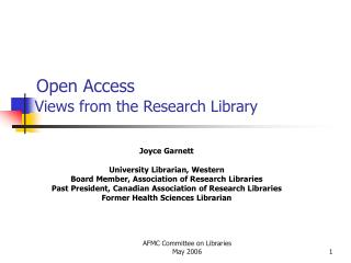 Open Access  Views from the Research Library