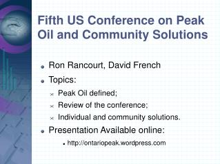 Fifth US Conference on Peak Oil and Community Solutions
