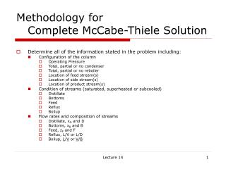 Methodology for    Complete McCabe-Thiele Solution
