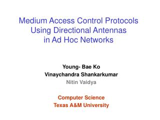 Medium Access Control Protocols Using Directional Antennas  in Ad Hoc Networks