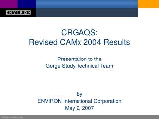 CRGAQS: Revised CAMx 2004 Results