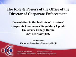 The Role & Powers of the Office of the Director of Corporate Enforcement
