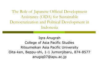Iqra Anugrah College of Asia Pacific Studies Ritsumeikan Asia Pacific University