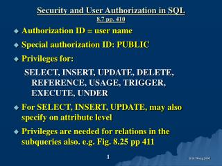 Security and User Authorization in SQL  8.7 pp. 410