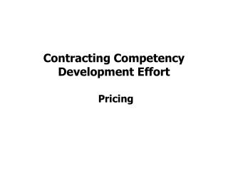 Contracting Competency Development Effort
