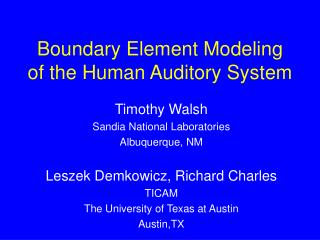 Boundary Element Modeling of the Human Auditory System