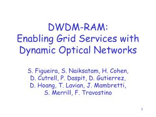 DWDM-RAM: Enabling Grid Services with Dynamic Optical Networks