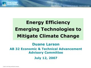 Energy Efficiency Emerging Technologies to Mitigate Climate Change