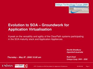 Evolution to SOA – Groundwork for Application Virtualisation