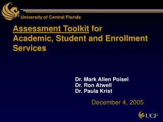 Assessment Toolkit for  Academic, Student and Enrollment Services