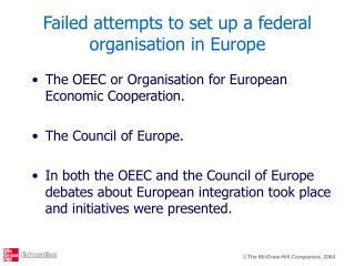 Failed attempts to set up a federal organisation in Europe