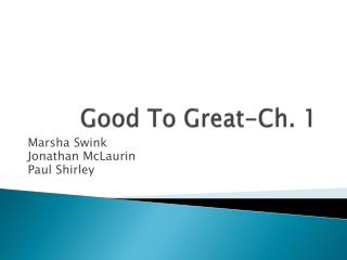Good To Great-Ch. 1