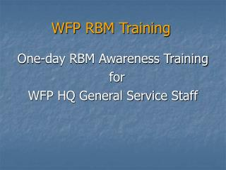 WFP RBM Training