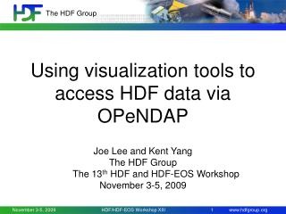Using visualization tools to access HDF data via OPeNDAP