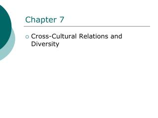Cross-Cultural Relations and Diversity
