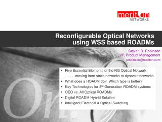 Reconfigurable Optical Networks using WSS based ROADMs