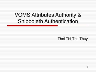 VOMS Attributes Authority & Shibboleth Authentication