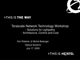 Terascale Network Technology Workshop -  Solutions for Lightpaths - Architecture, Control and Cost
