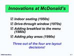 Innovations at McDonald s