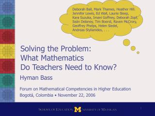 Solving the Problem: What Mathematics  Do Teachers Need to Know?