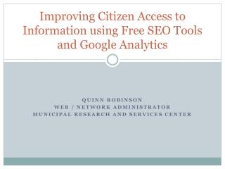 Improving Citizen Access to Information using Free SEO Tools and Google Analytics