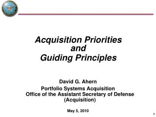 Acquisition Priorities and Guiding Principles