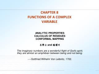 CHAPTER 8  FUNCTIONS OF A COMPLEX VARIABLE