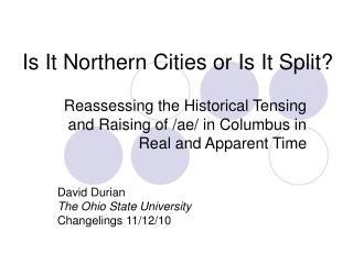 Is It Northern Cities or Is It Split?