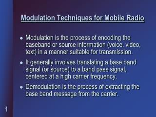 Modulation Techniques for Mobile Radio