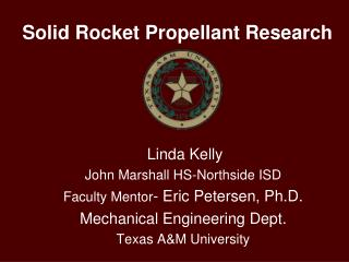 Solid Rocket Propellant Research
