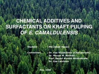 CHEMICAL ADDITIVES AND SURFACTANTS ON KRAFT PULPING OF  E. CAMALDULENSIS