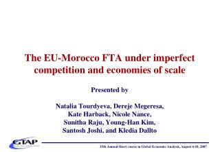 The EU-Morocco FTA under imperfect competition and economies of scale
