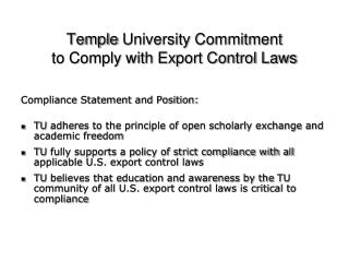 Temple  University Commitment  to Comply with Export Control Laws