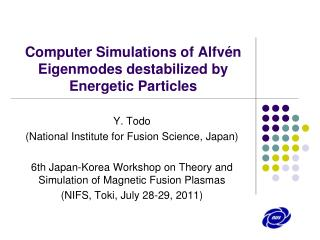 Computer Simulations of Alfvén Eigenmodes destabilized by Energetic Particles