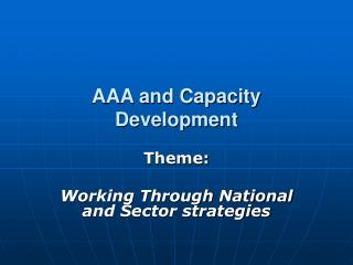 AAA and Capacity Development