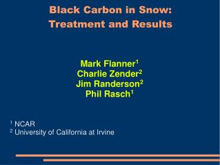 Black Carbon in Snow: Treatment and Results