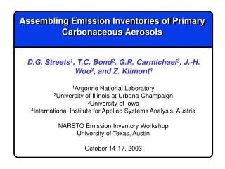 Assembling Emission Inventories of Primary Carbonaceous Aerosols