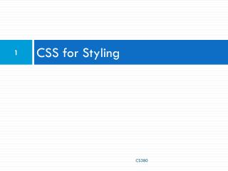 CSS for Styling