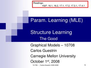 Param. Learning (MLE) Structure Learning The Good