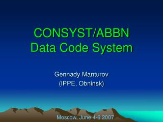 CONSYST/ABBN  Data Code System