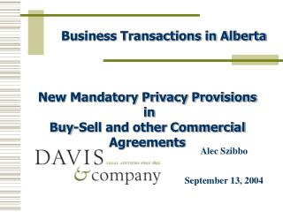 Business Transactions in Alberta