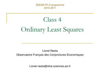 Class 4 Ordinary Least Squares