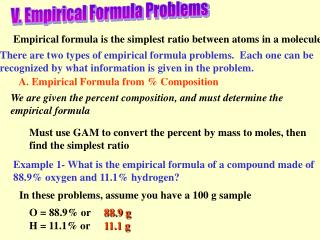 V. Empirical Formula Problems