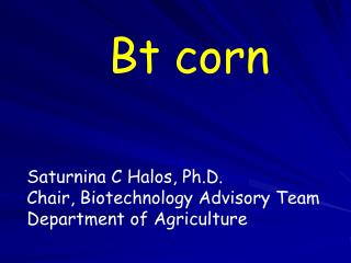 Bt corn Saturnina C Halos, Ph.D. Chair, Biotechnology Advisory Team Department of Agriculture