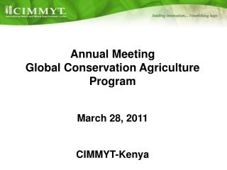 Annual Meeting Global Conservation Agriculture Program March 28, 2011 CIMMYT-Kenya