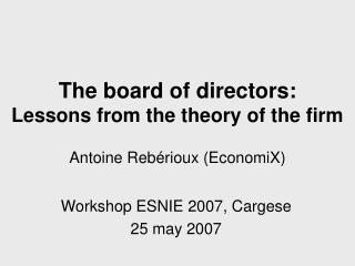 The board of directors: Lessons from the theory of the firm Antoine Rebérioux (EconomiX)